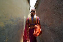 Urmi, a transgender woman walks to the polling booth to vote for the first time, April 21 2014.